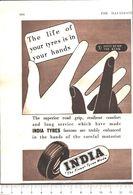 Advertising  - India Tyres. Pneumatici - 1951 - Non Classés