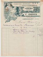 Hte SAÔNE : F. GARNIER, PHOTOGRAPHIE, Gravure, Imprimerie à Héricourt / L. De 1914 Etat - Imprenta & Papelería