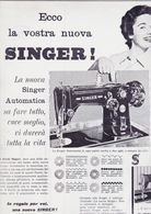 (pagine-pages)PUBBLICITA' SINGER  Oggi1954/49. - Livres, BD, Revues