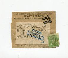 !!! 5C SAGE SUR BANDE DE JOURNAL DE PARIS POUR LA RUSSIE DE 1899, MARQUE DE CENSURE DE VARSOVIE - Giornali