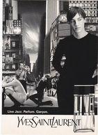 D2145 CARTE PUBLICITAIRE - YVES SAINT LAURENT - PARFUM - GARÇON - LIVE JAZZ - CARTE AU STYLE URBAIN - Publicité