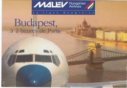 D2148 CARTE PUBLICITAIRE  - HUNGARIAN AIRLINES - MALEV - VOLS POUR BUDAPEST - NEZ D'AVION - Publicité