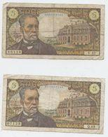 Billet, Pasteur, 5F, 2 Billets,  1966 Et 1967 - 1962-1997 ''Francs''