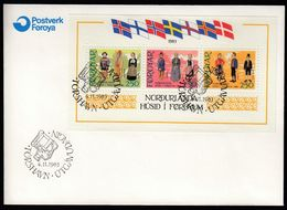 Faroe Islands 1983 / Inauguration Of The New Cultural Center, Nordic House In Thorshavn, National Costumes, Flags / FDC - Isole Faroer