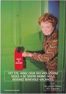 """D2177 CARTE PUBLICITAIRE  - LES PETITS FRÈRES DES PAUVRES - """"CET ÉTÉ, AIDEZ CEUX QUI VIEILLISSENT SEULS..."""" - Publicité"""