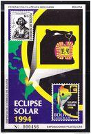 RO) 1994 BOLIVIA, SOLAR ECLIPSE - ASTRONOMY - POLISH ASTRONOMER NICOLAS COPERNICO, SOUVENIR MNH - Bolivia