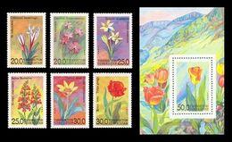 Uzbekistan 1993 Mih. 35/40 + 41 (Bl.2) Flora. Flowers MNH ** - Uzbekistán