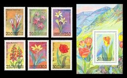 Uzbekistan 1993 Mih. 35/40 + 41 (Bl.2) Flora. Flowers MNH ** - Ouzbékistan