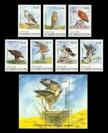 Uzbekistan 1999 Mih. 216/22 + 223 (Bl.23) Fauna. Birds Of Prey MNH ** - Ouzbékistan