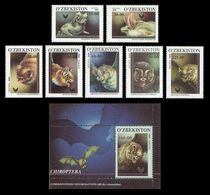 Uzbekistan 2001 Mih. 266/72 + 273 (Bl.26) Fauna. Bats MNH ** - Uzbekistán