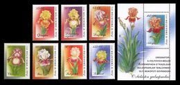 Uzbekistan 2002 Mih. 467/73 + 474 (Bl.35) Flora. Flowers. Irises MNH ** - Uzbekistan