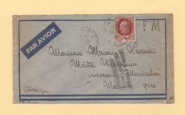 Destination Croiseur Montcalm - Relations Postales Suspendues - FM + Avion - Eauze - Gers - 1942 - Guerra Del 1939-45