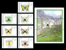 Uzbekistan 2006 Mih. 628/34 + 635 (Bl.43) Fauna. Butterflies MNH ** - Ouzbékistan