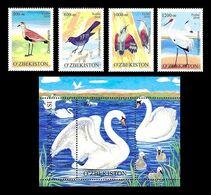 Uzbekistan 2010 Mih. 852/55 + 856 (Bl.54) Fauna. Rare Birds MNH ** - Uzbekistan