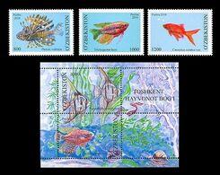 Uzbekistan 2010 Mih. 911/13 + 914/15 (Bl.58) Fauna. Aquarium Fishes MNH ** - Uzbekistán