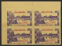 France 1928Vignette Auxerre Foire Exposition En BLOC De Coin TB Sans Charnière - Commemorative Labels
