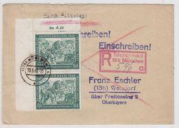 """Kontrollrat 84Pfg Leipziger Messe Als Eckrand-Paar Auf R+E-Brief+Sonder R-Zettel """"Telegraphenamt""""München AKs - Unclassified"""