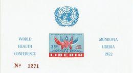 LIBERIA - 1952 United Nations UN Mi Block 6a, C70a, SG340 MS MNH IMPerforated - Liberia