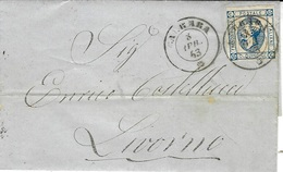 1863- Cover From CARRERA  Fr. 15 C  To Livorno - 1861-78 Vittorio Emanuele II