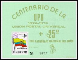 Ecuador, 1974, UPU Centenary, United Nations, MNH Imperforated, Michel Block 66 - Ecuador
