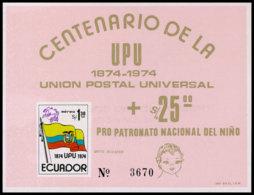 Ecuador, 1974, UPU Centenary, United Nations, MNH Imperforated, Michel Block 67 - Ecuador