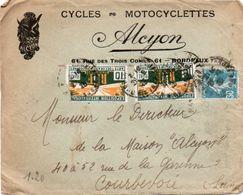 V7S  Enveloppe Timbrée Exposition Paris 1925 Courrier Lettre 33 Bordeaux Cycles Et Motos Tacot Alcyon Rue Des 3 Conils - Marcophilie (Lettres)