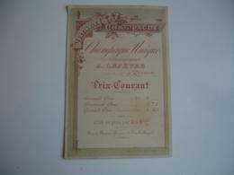Champagne Lefevre Reims  Ancien Tarif Carte Commerciale - 1900 – 1949