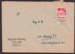 CELLE 27.9.49 BiZ 20 Pf. Brandenburger Tor Mit Notopfermarke Nach Der DDR Leipzig, Nicht Zulässig, NO Abgerissen - [7] Federal Republic
