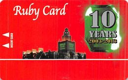 Emerald Island Casino - Henderson NV - BLANK Ruby 10 Yr Anniversary Slot Card - Casino Cards