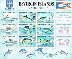 BRITISH VIRGIN ISLANDS - 1972 Game Fishing World Record Scott 243-248, SG 277-283 MS283 Sheetlet MUH - British Virgin Islands