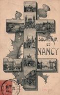 Souvenir De Nancy - Multivues Dans Croix De Lorraine - Edition Garnier Et Chauvette - Saluti Da.../ Gruss Aus...
