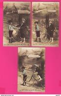 LOT DE 3 CPA  (Réf: Z 2959) (FANTAISIES AUTRES) Le Lièvre Et La Tortue Vélo - Fancy Cards