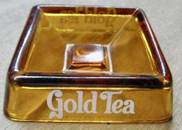 CENDRIER EN VERRE GOLD TEA BOISSON AU THE - Ceniceros