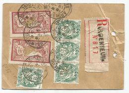 BLANC 5CX4+MERSON 1FR X2 PERFORE SFG AU VERSO ETIQUETTE REC STE FRANCAISE GARDY ARGENTEUIL 1925 POUR SUISSE RARE - France