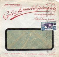 V7S  Enveloppe Timbrée Exposition Paris 1925 Courrier Lettre Cycles & Automobile Industriels Rédaction Revue Hebdo - Marcophilie (Lettres)
