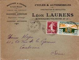 V7S  Enveloppe Timbrée Exposition Paris 1925 Courrier Lettre 31 Montesquieu Volvestre Cycles Autos Machines Léon Laurens - Marcophilie (Lettres)