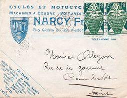 V7S  Enveloppe Timbrée Exposition Paris 1925 Courrier Lettre 18 Bourges Cycles Motos Autos Tacot Narcy Vente à Crédit - Marcophilie (Lettres)