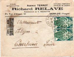 V7S  Enveloppe Timbrée Exposition Paris 1925 Courrier Lettre 88 Saint Dié Agence Terrot Motos Autos Richard Relave - Marcophilie (Lettres)