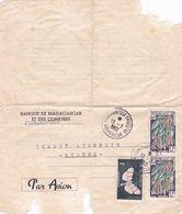MADAGASCAR LETTRE PAR AVION BANQUE DE MADAGASCAR ET DES COMORES EN 1962 - Madagaskar (1960-...)