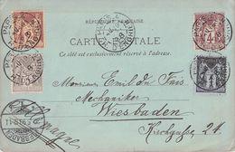 FRANCE - PICTURE POSTCARD 1898 PARIS - WIESBADEN /T243 - 1876-1898 Sage (Type II)