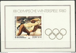 """DDR Bl.57 """" XIII Olympische Winterspiele 1980""""  Postfrisch.Mi 2,80 - Blokken"""