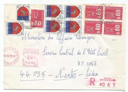 BLASON 20C ST LO X6+ BEQUET 80CX5 LETTRE REC ETIQUETTE 2.00NICE 31.III.1977 - 1941-66 Armoiries Et Blasons