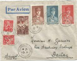 PETAIN 40C+80C+1FR +IRIS 1FRX2+ 1FR MINEURS LETTRE AVION MARMANDE 10.2.1941 POUR SENEGAL - 1941-42 Pétain