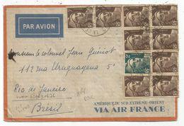 GANDON 3FR BRUN X9+2FR+DULAC 5FRX3+1FR MAZELIN AU VERSO LETTRE AVION LA CELLE CREUSE 27.5.1946 POUR LE BRESIL AU TARIF - 1945-54 Marianne De Gandon