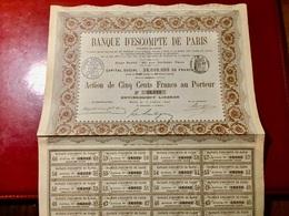 BANQUE  D' ESCOMPTE  De  PARIS  --------Action  De  500 Frs - Bank & Insurance