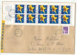 CARNET CROIX ROUGE 1997 BANDE COMPLETE + 50C JUMELET LETTRE REC ANNECY LE VIEUX 2.10.1998 - Red Cross