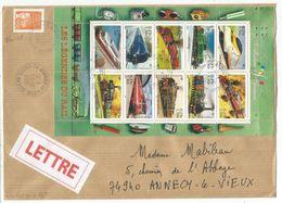 BLOC LES LEGENDES DES RAIL  1FR JUMELET LETTRE REC ANNECY 29.12.2001 - Sheetlets