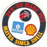 Auto-collant De Sport Automobile, 24 Heures Du Mans, Matra Simca Shell, Chrysler France, Sticker De 1973 - Stickers