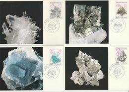FRANCE - 4 Cartes Maximum - 1986 - MINERAUX - Minéraux