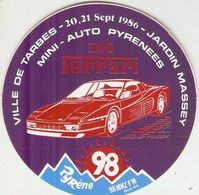 Auto-collant De Voiture, Expo Ferrari, Jardin Massey Tarbes, Mini-Auto Pyrénées, Sticker De 1986, Radio Pyrène, Bon état - Stickers